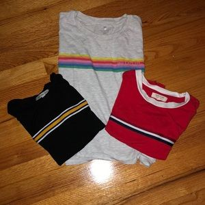 Bundle of 3 t shirts with striped in the middle